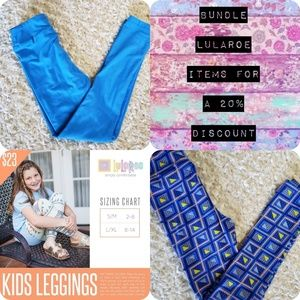 Kids LulaRoe L/XL Leggings Lot blue, geometric